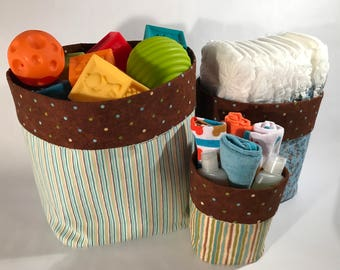 Fabric Bin Set, Nursery Fabric Bins, Fabric Caddies, Nesting Fabric Bins, Baby Gift, Nursery Bins for Boy, Organizers, Storage Bins for Boy