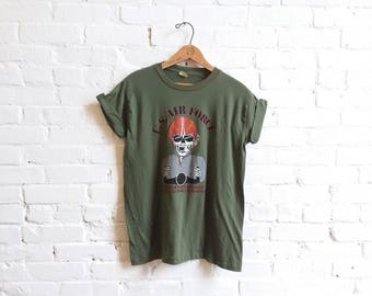 Vintage 1980S NOS U.S. Air force fighters never due they just got to hell to regroup shirt men's medium screen stars 50/50