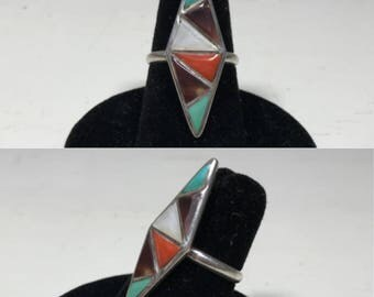 sterling silver vintage coral mother of pearl tiger's eye turquoise  southwestern style ring size 5.75