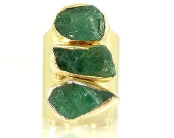 SUMMER SALE- Emerald Ring, Emerald,May Birthstone, Raw Emerald Ring, Statement Ring, Crystal, Gold Gemstone Ring, Natural Emerald Ring,Raw S