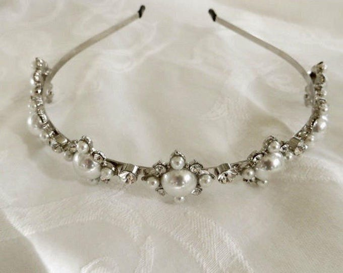Pearl Rhinestone Headband, Wedding Hair Band, Bridal Piece, Formal Hair Jewelry
