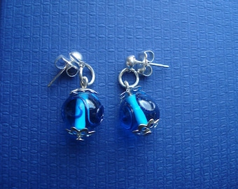 Blue glass round beaded earrings