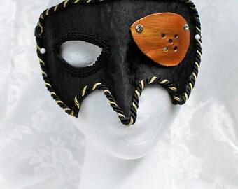 Pirate Satin Masquerade Mask, Black Satin Brocade and Leather Pirate Masquerade Mask with Eye Patch