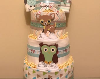 Little Woodland Critters Baby Boy Diaper Cake