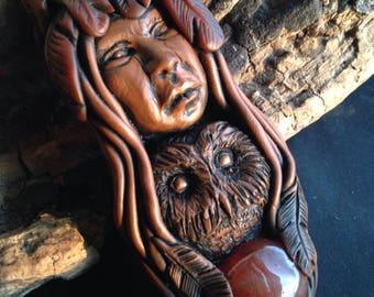 Crone and Owl with Carnelian - Owl Medicine - Crone Goddess Pendant - Hand Sculpted Spiritual Jewelry