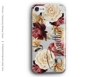 iPhone 7 Case, Personalized, Roses, iPhone 6 Case, iPhone 8 Plus Case, Galaxy S7 Case, iPhone 8 Case, Monogram Case, Galaxy S8 Case