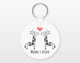 Giraffe Keychain, Couple Keychain Personalized Keychain, Boyfriend Keychain Girlfriend Keychain, Couple Key Chain, Animal Keychain, Keyring