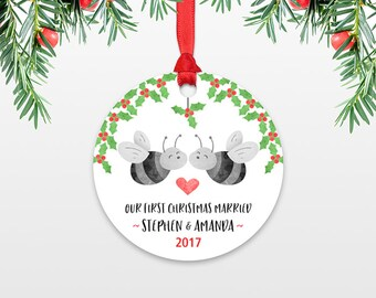 Honey Bee Personalized First Christmas Ornament Couple, Our First Christmas Engaged, 1st First Christmas Married, First Christmas Together