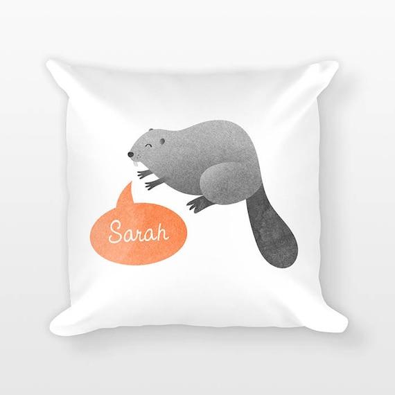 Personalized Pillow, Beaver Pillow, Custom Name Pillow, Birthday Gift for Friend, Kids Room Decor, Animal Pillow, Decorative Throw Pillow