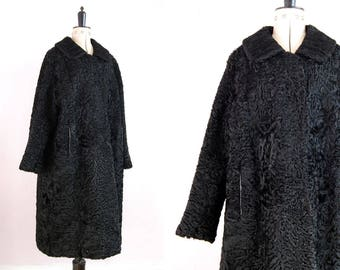 Vintage 1950s 60s Persian Lamb fur coat - Persian Wool Coat - Lambswool coat - Black fur coat - Long coat - Full length coat - Swing coat