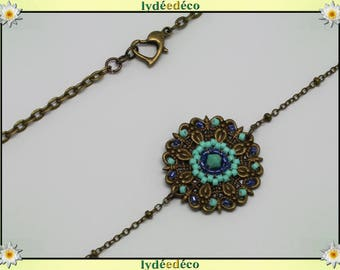 Vintage flower headband print and turquoise blue glass beads bronze