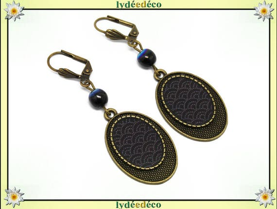 Retro Earrings: Seigaiha waves of the black resin white Japan Sea glass pendants beads bronze brass