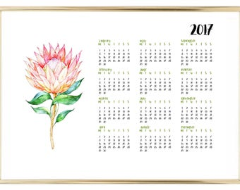 2017 Protea Calender Printable Digital Download
