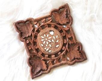 Vintage Boho Carved Wood Trivet / Wall Decor / Trivet / Wall hanging / /boho trivet / Boho Wall Hanging / made in India