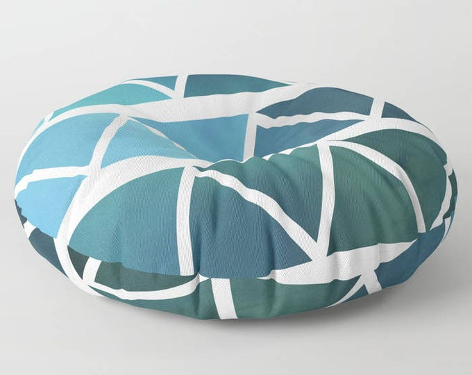 Floor Pillows - Blue Modern Art - Blue and White - Round or Square Floor Cushion - Decorative Pillow - Made to Order