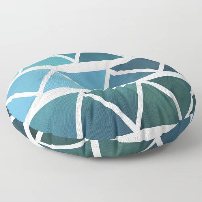 Round Floor Pillow Blue : Floor Pillows - Blue Modern Art - Blue and White - Round or Square Floor Cushion - Decorative ...