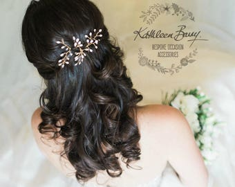 Pearly Leaf Bridal hair pins Wedding hair accessories Rose gold, silver, gold wirework options leaf inlay colors to order STYLE: Sarah Faye