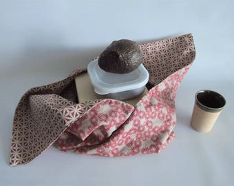 Lunch bag, Bento bag, Azuma bag, Bukuro bag, Japanese lunch bag - Red and beige - Small