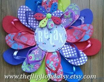 Purple & Red Polka Dot RELAX Flip Flop Wreath W/ Flower Print Beachy Coastal Door Decor Patio Deck Summer Luau Ocean