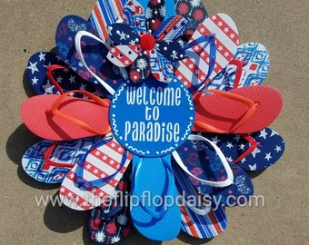 Adorable Patriotic WELCOME Flip Flop Wreath Door Wall Decor Unique Gift