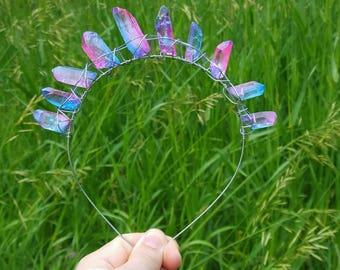 Wire and crystal cotton candy aura crown, bohemian, gypsy, boho, festival, steampunk, pastel goth
