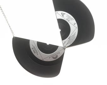 Vinyl Record Collar Necklace | Music Neckpiece | Silver | Level 42  // SALE
