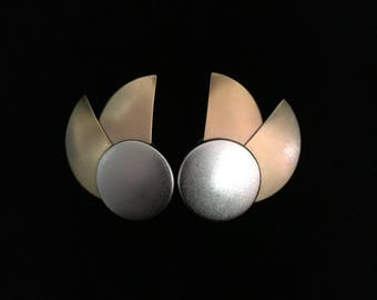 Vintage 1980's Rare ©Monet 3Tone Geometric Avant Garde Earrings (Tier 1)