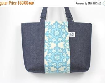 On Sale Large beach bag, Large denim holiday bag, Denim bag, Denim tote, Denim and floral canvas tote bag, Large denim and canvas tote bag