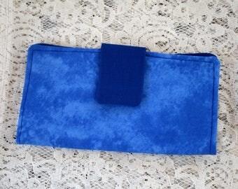 Womens Fold Over Wallet, Dark Blue Cloth Wallet, Credit Card Holder, Checkbook Holder, Zippered Coin Wallet