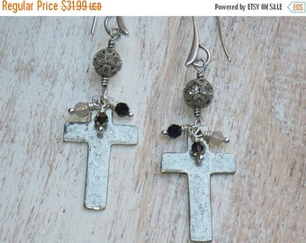 ON SALE Spiritual Cross and Swarovski Crystal Dangle Sterling Silver Earrings