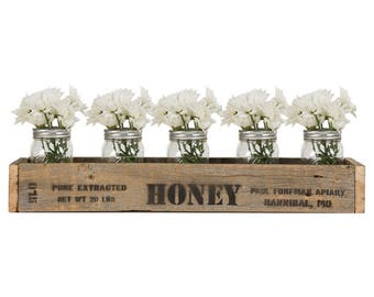 Wood Tray Centerpiece Box 'Honey' 24 Inch