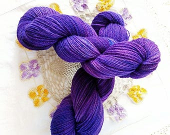 100g Purple Rain on ethically produced British wool spun + hand dyed in Yorkshire. Romney lambswool, British alpaca and BFL