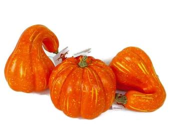 Set Of 3 Gourds Pumpkins Fall Decoration Orange Gourds Medium Pumpkin Gourds Foam  Fall Pumpkin Centerpiece Pumpkin Wreath Pumpkins Gourds