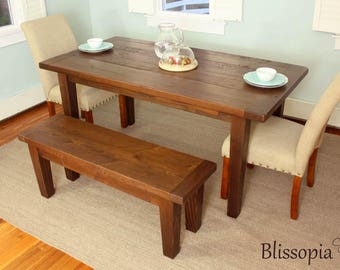 Reclaimed Wood Tapered Leg Farmhouse Table, Harvest Table, Dining Table