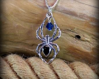 Sterling silver spider jewelry, Gothic jewelry, black spider necklace, black widow jewelry, Halloween jewelry