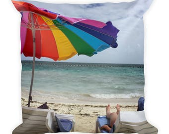Rainbow Beach Square Pillow