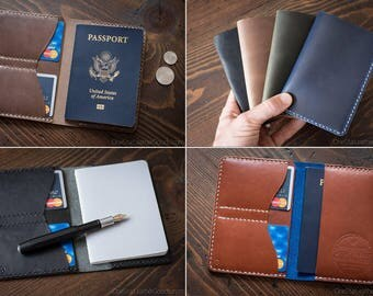 BUILD-YOUR-OWN Passport Wallet, leather passport cover or notebook holder