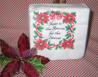 "Retro NIP 40 Vintage Christmas Holiday Paper Dinner Napkins ""GRACELINE""  ""Jesus is the Reason for the Season"""