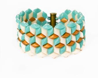 mint bracelet, wide bracelet, turquoise bangle, beaded cuff bracelet, wide cuff bracelet, seed bead bracelet, bead cuff bracelet, gift her