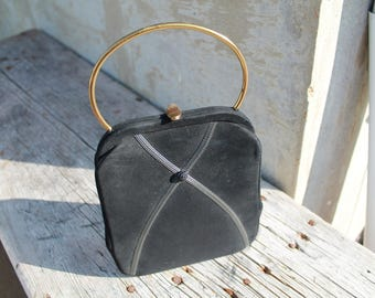 Vintage Black Purse with Gold Handle, Small Black Handbag, Retro Purse Handbag by Town and Country Shoes,