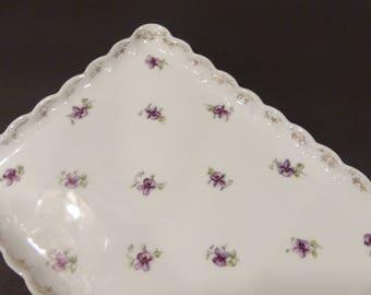 Vintage Vanity Tray / Dresser Tray / Austria / Purple Violets / Porcelain