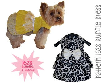 Ruffle Dog Dress Pattern 1628 * Bundle 3 Sizes * Dog Clothes Pattern * Dog Harness Dress * Pet Apparel * Dog Outfits * Little Dog Clothes