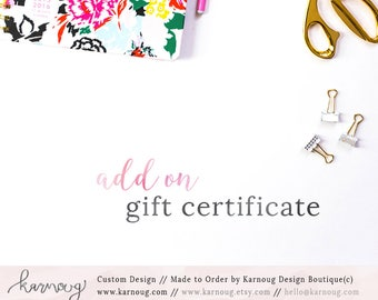 Add on: Custom Gift Certificate|Gift Certificate|Custom Design|Logo Add on|Certificate Design|Gift Certificates|Custom Logo Design