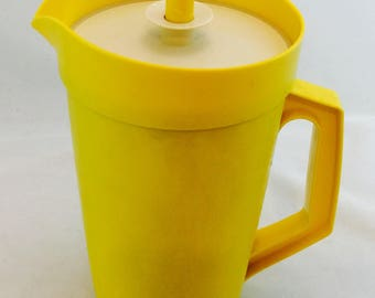 Vintage Tupperware Pitcher with Push Button Lid in Yellow, Yellow Tupperware Pitcher
