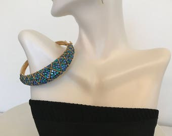 Kenneth J Lane kjl Designer Jewelry Jeweled Cuff Clamper Bracelet