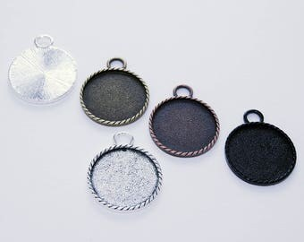 25- 1 inch Round Braided Edge Blank Bezel Settings - 25mm Round Blank Findings - Large Bail for Keychains or Chains - 5 Color Choices