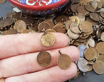 10 Round Coin Charms - Antique Bronze Plated