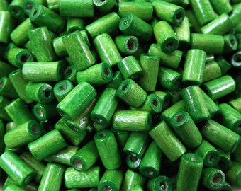 Pear Green Wood Tube Beads Satin Varnished Plain Simple Round Smooth Ball Wooden Bead Spacers 8mm Choose 50pcs, 200pcs or 400pcs