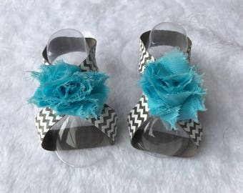 Barefoot baby sandals, baby shoes, baby accessories, blue flower, chevron print, baby accessories, baby shower gift
