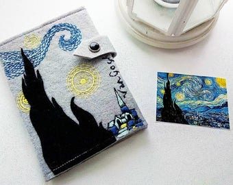 Van Gogh Starry Night Passport Cover/Felt Hand Embroidered Passport Holder/Passport Case/Gift for Her/Gift for Him